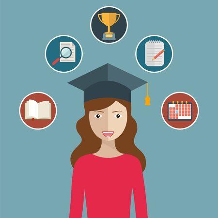 alumnus: woman graduates in graduation hat. Student. Graduation day icon set of celebration elements in flat design. Illustration