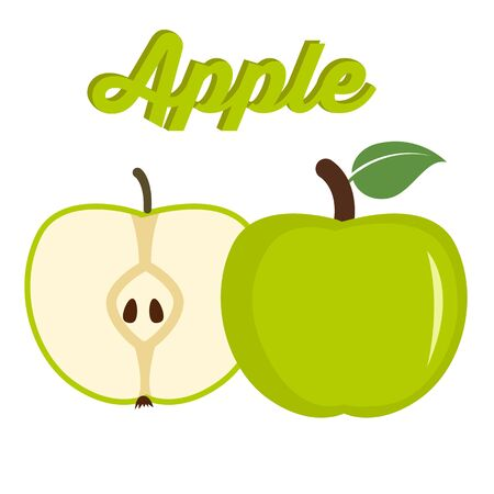 savory: Green apple - whole and cut fruit