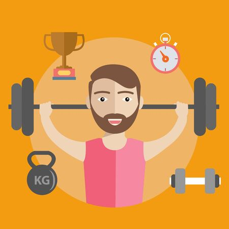 Weightlifting Athlete. Sport Infographic and items Illustration