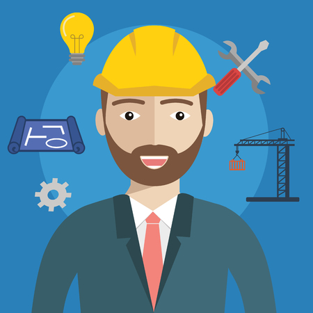 industrial construction: Engineer construction industrial factory manufacturing worker with items
