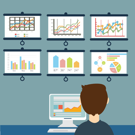 Flat vector illustration of web analytic information and development website statistic Çizim