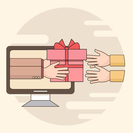Delgada línea colorida ilustración vectorial concepto de servicio de entrega de regalos, el comercio electrónico, compras en línea, recibir el paquete de mensajería de cliente aislado en el fondo brillante Foto de archivo - 63264660