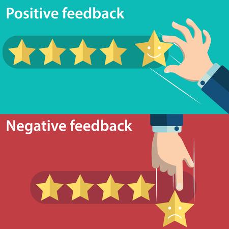 비즈니스 손을 긍정적이 고 부정적인 피드백의 5 스타를 제공합니다. 고객 피드백 개념의 벡터 일러스트 레이 션. 최소 및 평면 디자인