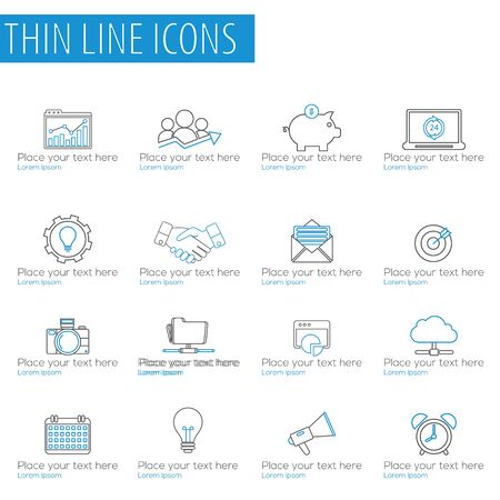 Thin Line Icons For Business, Interface