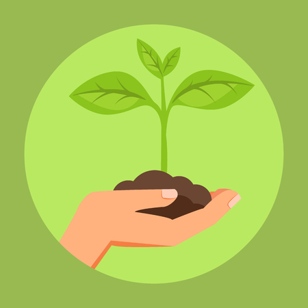 Illustration of human hand holding green small plant. Image for booklets, banners, flayers, article and social media.
