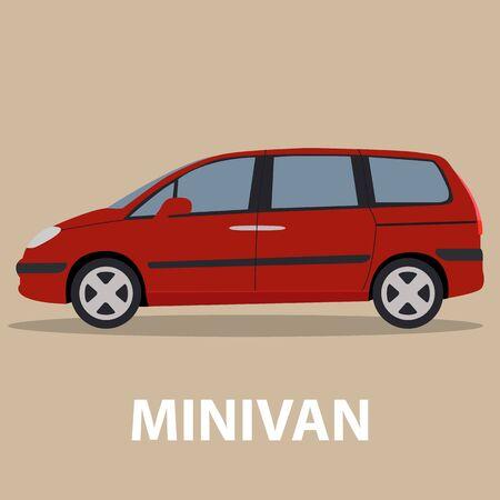 minivan: Car Minivan vehicle transport type design Illustration