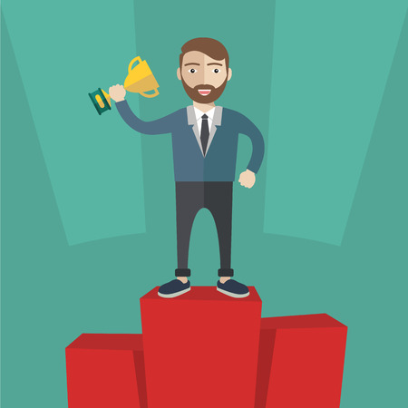 recompense: Businessman winner standing in first place on a podium holding up an award trophy as he celebrates his victory vector illustration Illustration