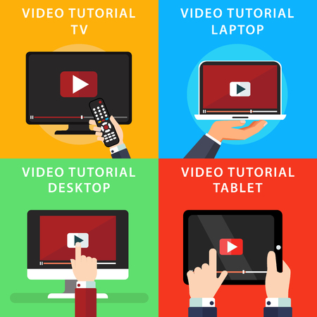 Video tutorials icons concepts. Streaming, study and learning, distance education and knowledge growth. Online conference and webinar icons. Vector illustrations in flat style Ilustração