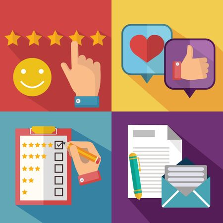 Business customer care service concept, rating on customer service and review flat banner set
