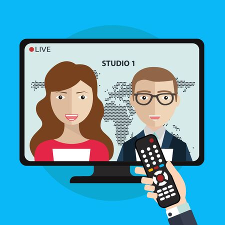 newsreader: Live News on TV with newsreader icon. News of the world. Vector illustration with hand holding remote control Illustration