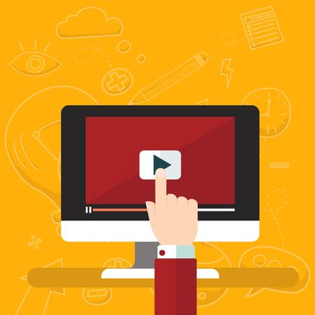 tutorials: Video tutorials icon concept. Study and learning background, distance education and knowledge growth. Video conference and webinar icon, internet and video services. Vector illustration in flat style Illustration