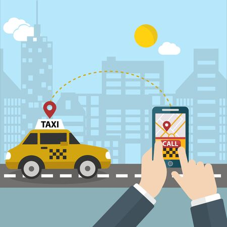 get in touch: Process of booking taxi via mobile app. Calling Taxi message on a mobile phone screen. Hand holding smart phone on city background
