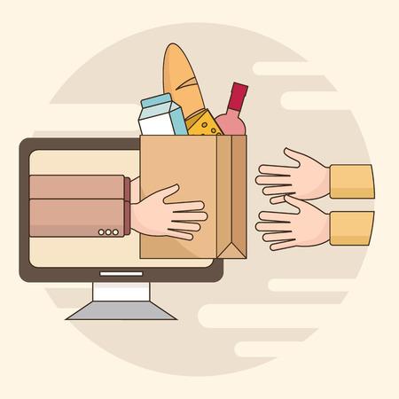 delgada línea colorida ilustración vectorial concepto de servicio de entrega de alimentos. Entrega de la tienda de comestibles. Entrega de alimentos procedentes de mensajería para los clientes. Aislado en el fondo brillante
