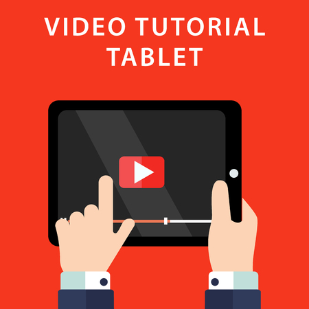 tutorials: Video tutorials on Tablet icon concept. Study and learning background, distance education and knowledge growth