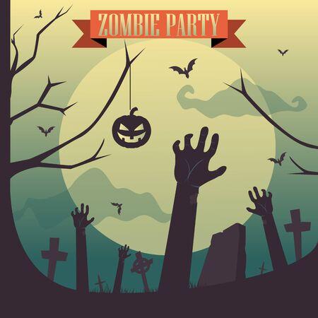 Halloween Zombie party vector illustration Graveyard concept.