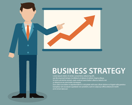 calculating: Flat design concept of businessman presenting development and financial planning on meeting conference