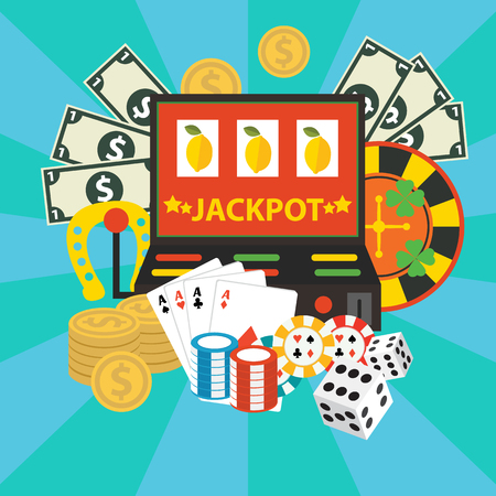 jackpot: Vector gambling casino elements, jackpot playing