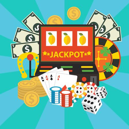 Vector gambling casino elements, jackpot playing