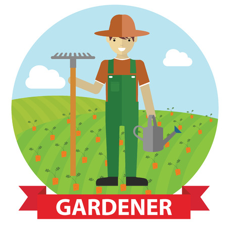 Vector illustration of an happy Gardener standing with his garden tool on field Illustration