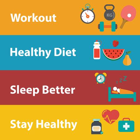 Set flache Design-Konzept-Icons für Web und Handy Erholung und Entspannung, medizinische, gesunde Stil Leben, gesunde Ernährung und Bauernhof frische Konzept. Sport Gesundheit Infografik, Flat, Vektor. Vektorgrafik