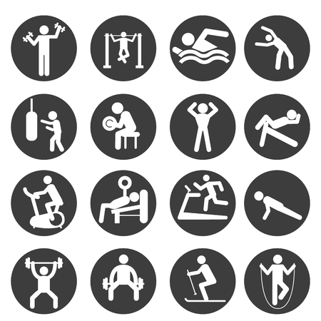 punch press: Man People Athletic Gym Gymnasium Body Building Exercise Healthy Training Workout Sign Symbol Pictogram Icon.