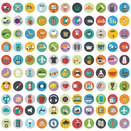 icono ordenador: iconos planos del diseño moderno ilustración vectorial gran conjunto de varios elementos de servicios financieros, tecnología web y desarrollo, símbolo de la gestión empresarial, elementos de marketing y equipo de oficina en el fondo.