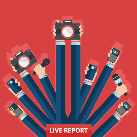 social actions: vector live report concept, live news, hands of journalists with microphones and tape recorders.