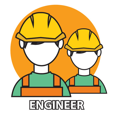 machine operator: Engineer construction manufacturing worker illustration vector icon.