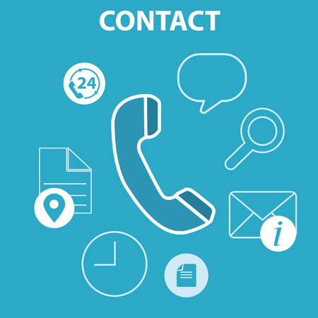 web services: Web and mobile phone services and apps. Icons for faq, newsletter, support, contact. Illustration