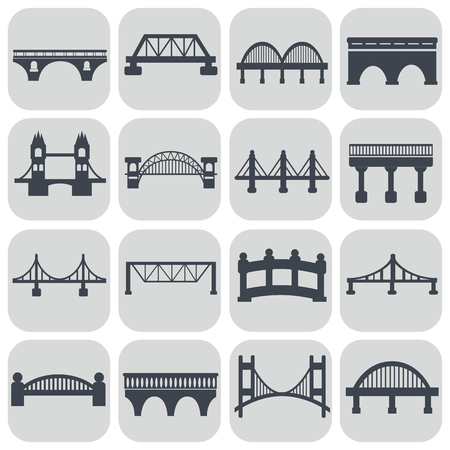 viaduct: Vector isolated bridges icons set.