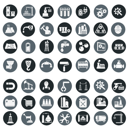 Vector illustration industry factory modern icons set.