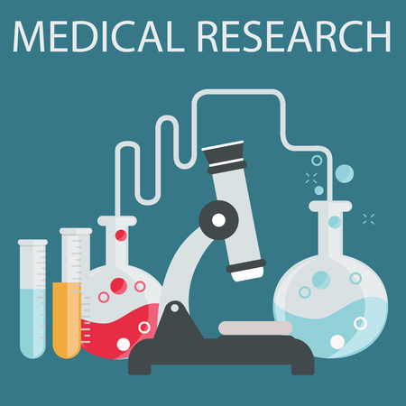 health care and medicine: Flat health care and medical research background. Healthcare system concept. Medicine and chemical engineering