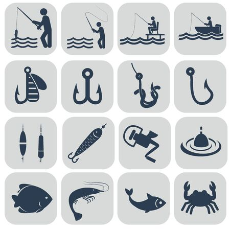 bass fish: Fishing icons in single color vector illustration