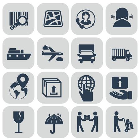 Logistics icons set on grey background. vector illustration Illustration