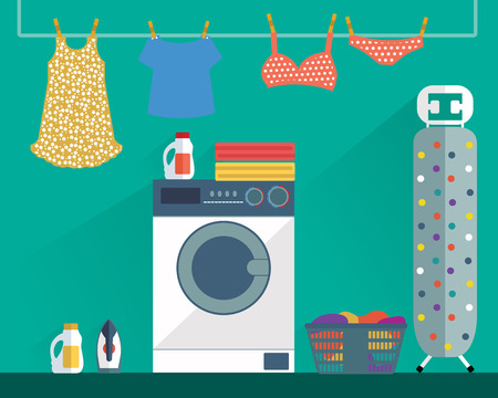laundry room: Laundry Washing room modern colorful vector illustration