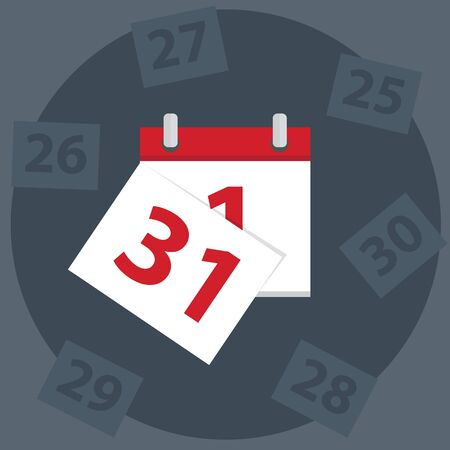 calendar day: Vector calendar apps icon. Last day of the month.