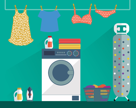 Laundry Washing room modern colorful vector illustration