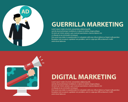 guerrilla: Advertising design concept set media and guerrilla marketing flat icons isolated vector illustration.