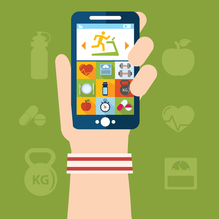 scheduler: Hand holding a phone with weight lifting application scheduler vector illustration.