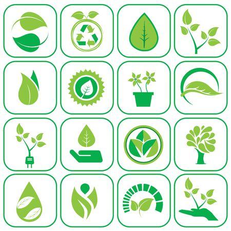 Icone di ecologia verde moderno set di illustrazione vettoriale.