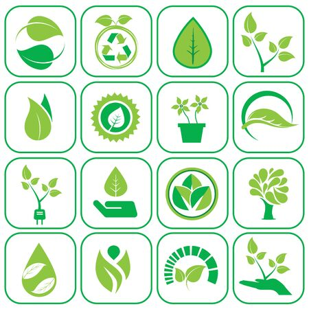 antipollution: Ecology icons green modern set vector illustration. Illustration