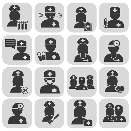 Doctor and Nurses vector icons vector illustration