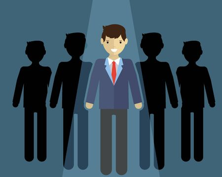 notable: businessman of leader. Standing out of the cround. Illustration