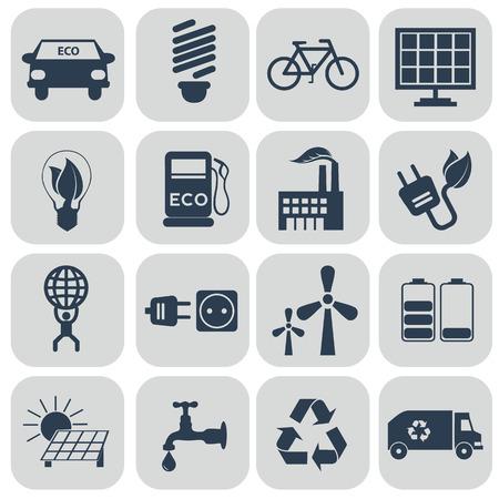 Ecology icons set on grey. vector illustration