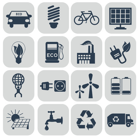 antipollution: Ecology icons set on grey. vector illustration