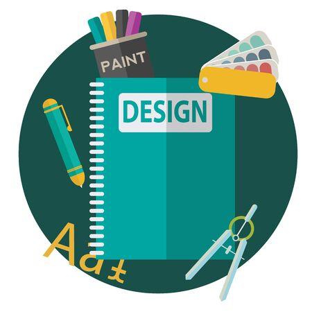 office stuff: Graphic web design icons flat style vector illustration