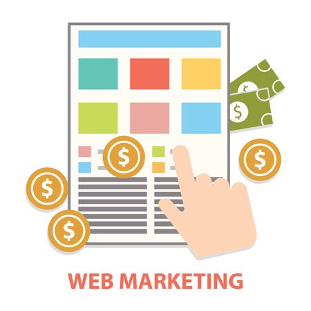 per: Flat design modern vector illustration concept of web marketing internet advertising model when the ad is clicked