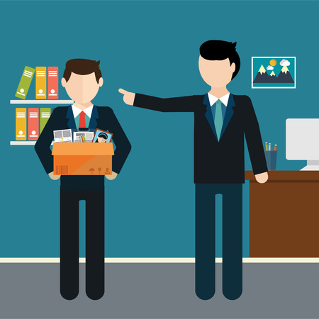 layoff: Layoff concept. Boss dismissed employee. Flat vector illustration