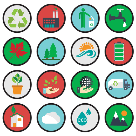 eco icons: Vector green eco icons ecology vector illustration