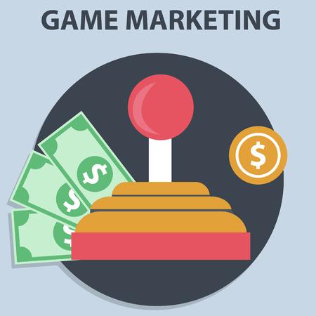 Game marketing and monetizing vector Stock Photo